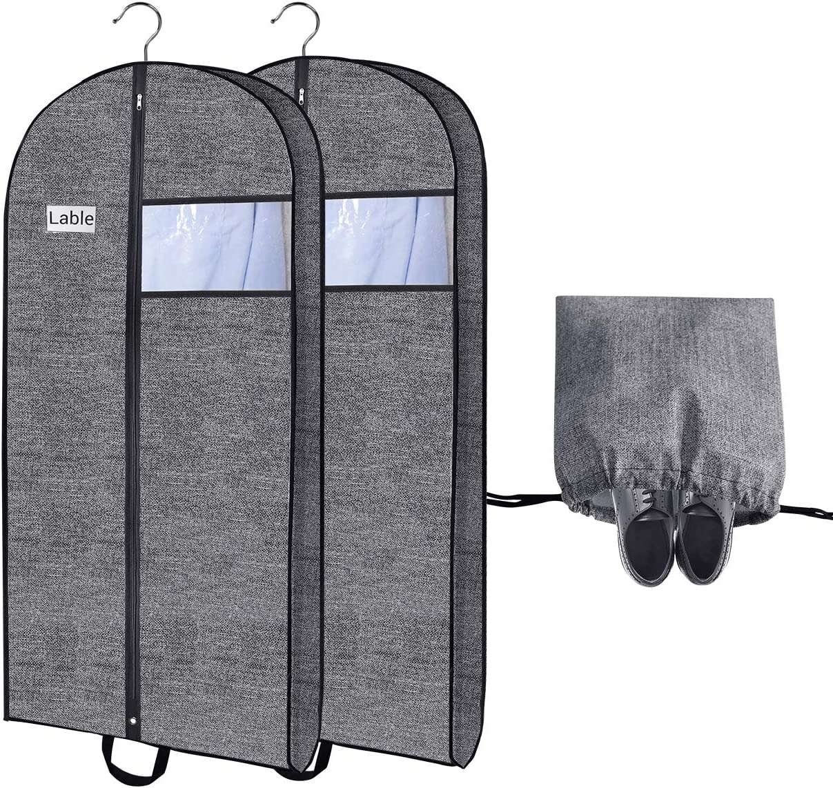 Garment Bag for Closet Storage and Travel,Hold More Clothes Garment Cover,Easily Carrying Full Zipper with Clear Window and ID Card Holder for Suits, Gowns, Dresses,Dance Costumes-2pack-Bonus Shoe Bag