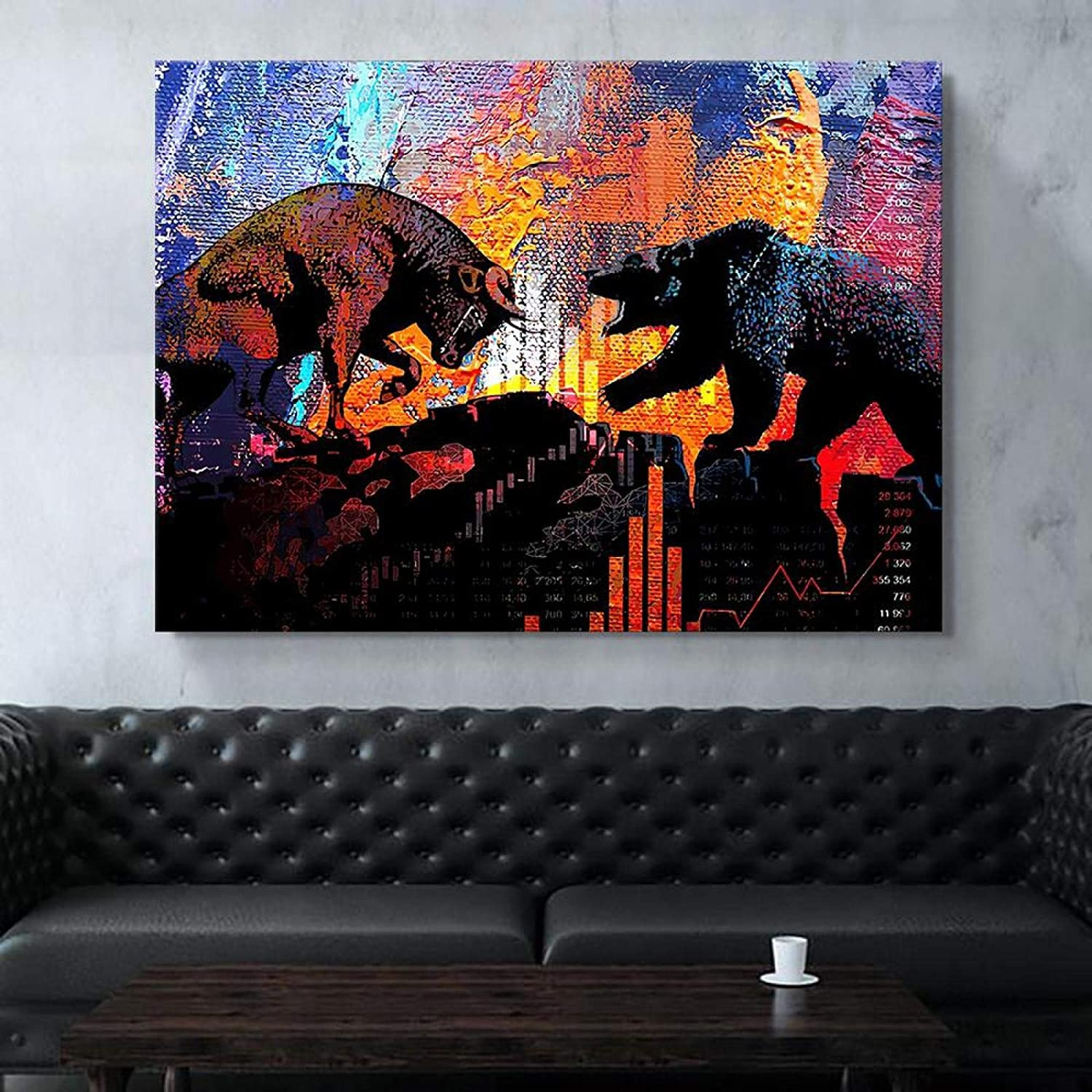 """YOKOU Canvas Picture Creativity Stock Market Bull and Bear Posters and Prints Artwork Wall Art Living Room Bedroom Home Decor 23.6""""x35.4""""(60x90cm) Frameless"""