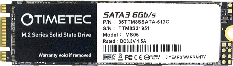 Timetec 512GB SSD 3D NAND TLC SATA III 6Gb/s M.2 2280 NGFF 256TBW Read Speed Up to 530MB/s SLC Cache Performance Boost Internal Solid State Drive (512GB)