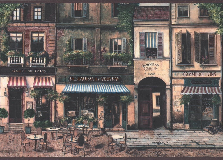 Vintage Paris Street Hotel Restaurant Wine Sweets Stores