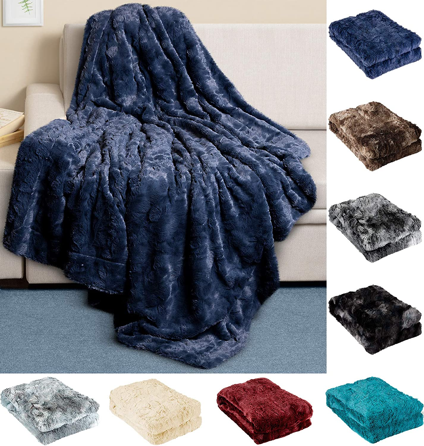 Everlasting Comfort Luxury Faux Fur Throw Blanket - Ultra Soft and Fluffy - Plush Throw Blankets for Couch Bed and Living Room - Fall Winter and Spring - 50x65 (Full Size) Navy Blue