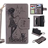 Sony Xperia XA Case Leather [Cash and 9 Card Slots], Cozy Hut Elegant Woman and cat Patterned Embossing PU Leather Stand Function Protective Cases Covers with Card Slot Holder Wallet Book Design Fordable Strap Case for Sony Xperia XA/F3116 5.0 Inch - gray