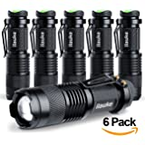ilauke LED Flashlight Mini Cree Q5 Handheld Tactical Flashlight Torch 7W 300LM 3 Modes Adjustable Focus Zoomable Lights(6 Pack)
