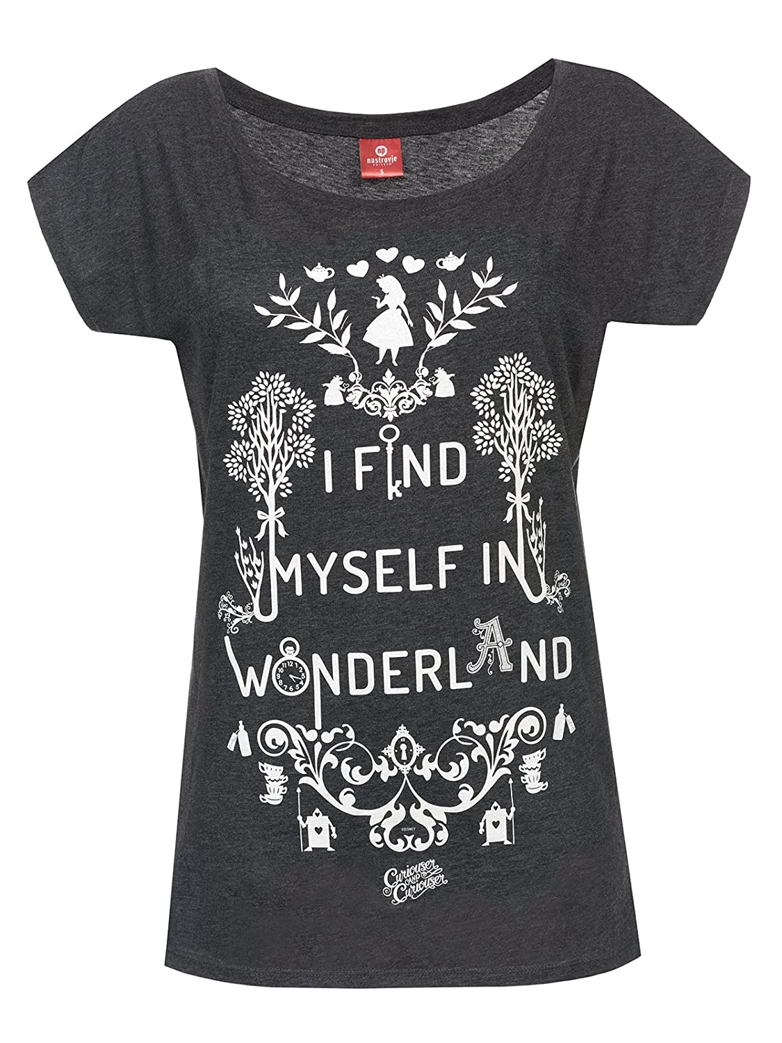 Alice in Wonderland I Find Myself In Wonderland T-shirt Femme gris chiné