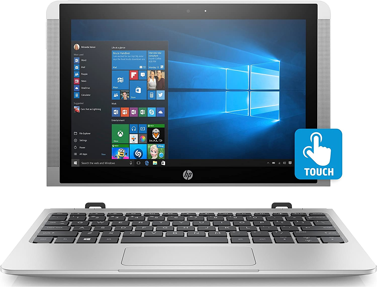 HP 10-P018WM Detachable Laptop, 10.1 IPS Touch Display, Windows 10 Home, Intel Atom X5-Z8350 Processor, 4GB Memory, 64GB eMMC Storage, 802.11 Wirless AC, Active Pen