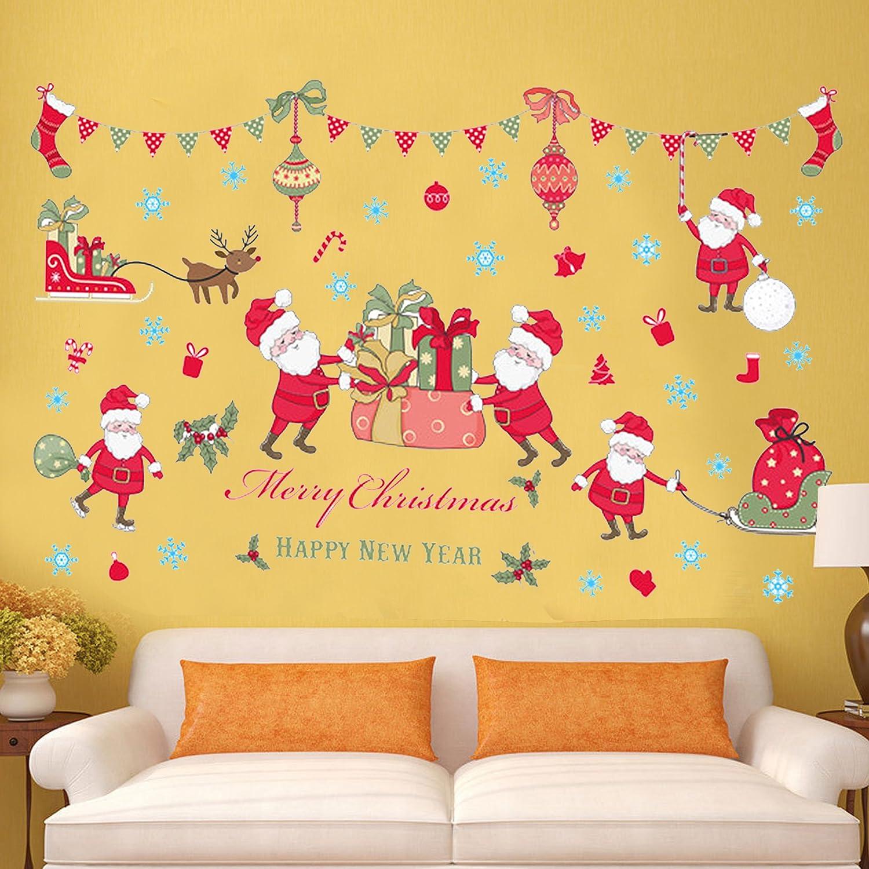 Amazon.com: Christmas Window Clings, Festive Self-Adhesive Reusable ...