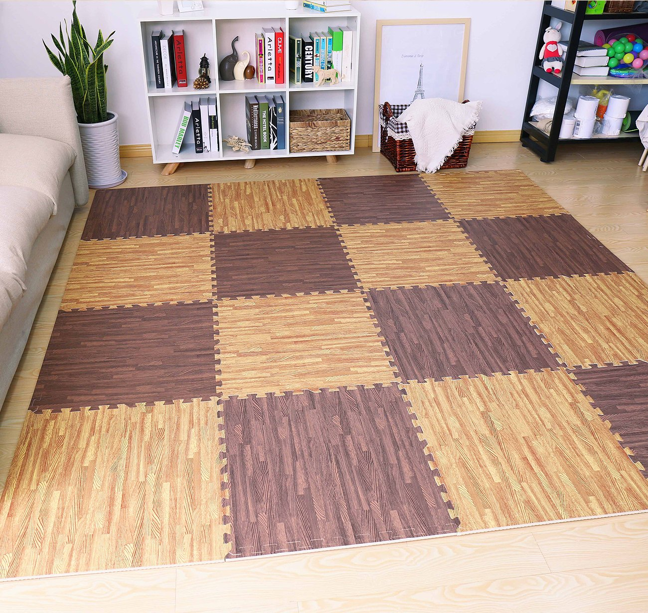 Sorbus Interlocking Floor Mat Print, Wood Grain - Dark (6-Piece) by Sorbus (Image #5)