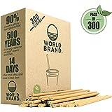 World Brand 300 Dye-Free Biodegradable Premium Paper Straws, Made from Kraft