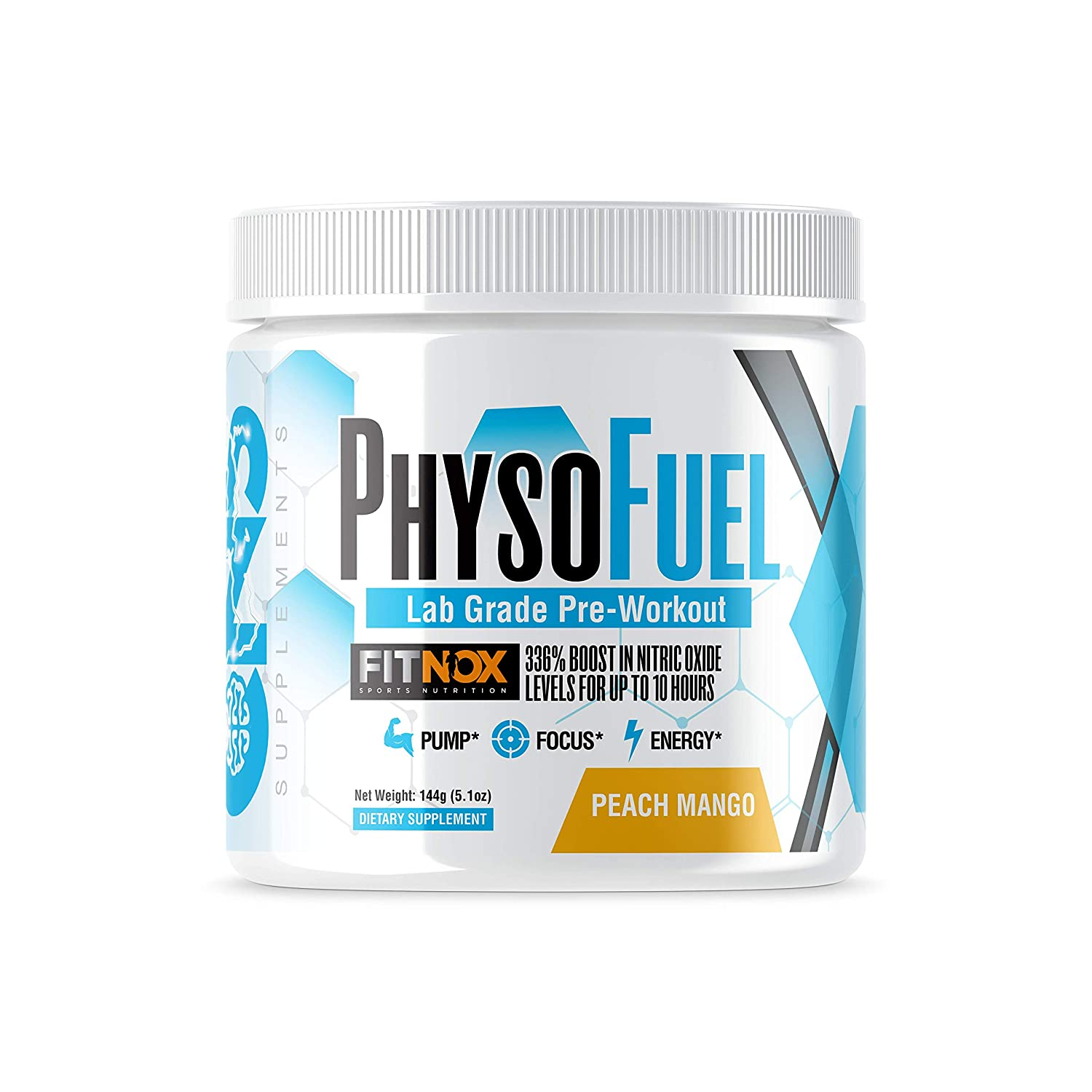 PhysoFuel Pre Workout -New Patented FitNox, 336 Plant Based Blood Flow Boost -Moderate Caffeine, Tingle and Jitter Free, Sustained Energy Pre-Workout -20 Servings -Peach Mango