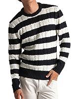 (バレッタ) Valletta クルーネック ケーブル編み ニット メンズ セーター カラーニット ニットソー 長袖 カジュアル ストリート アメカジ 防寒 秋冬