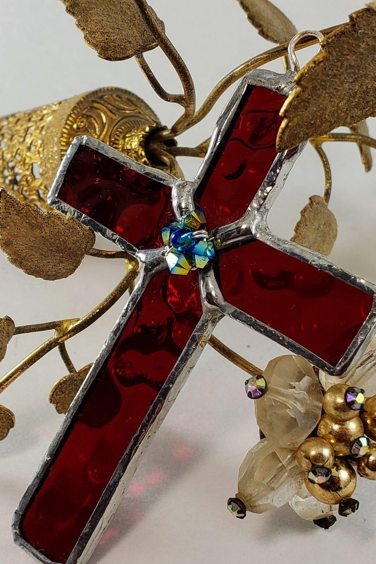 Handmade Mini Cross Stained Glass Suncatcher Christian Ornament