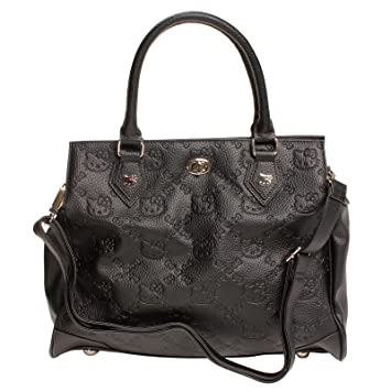 8172806110e9 Amazon.com   Hello Kitty Black Embossed Faux Leather Satchel Bag Purse    Diaper Tote Bags   Baby