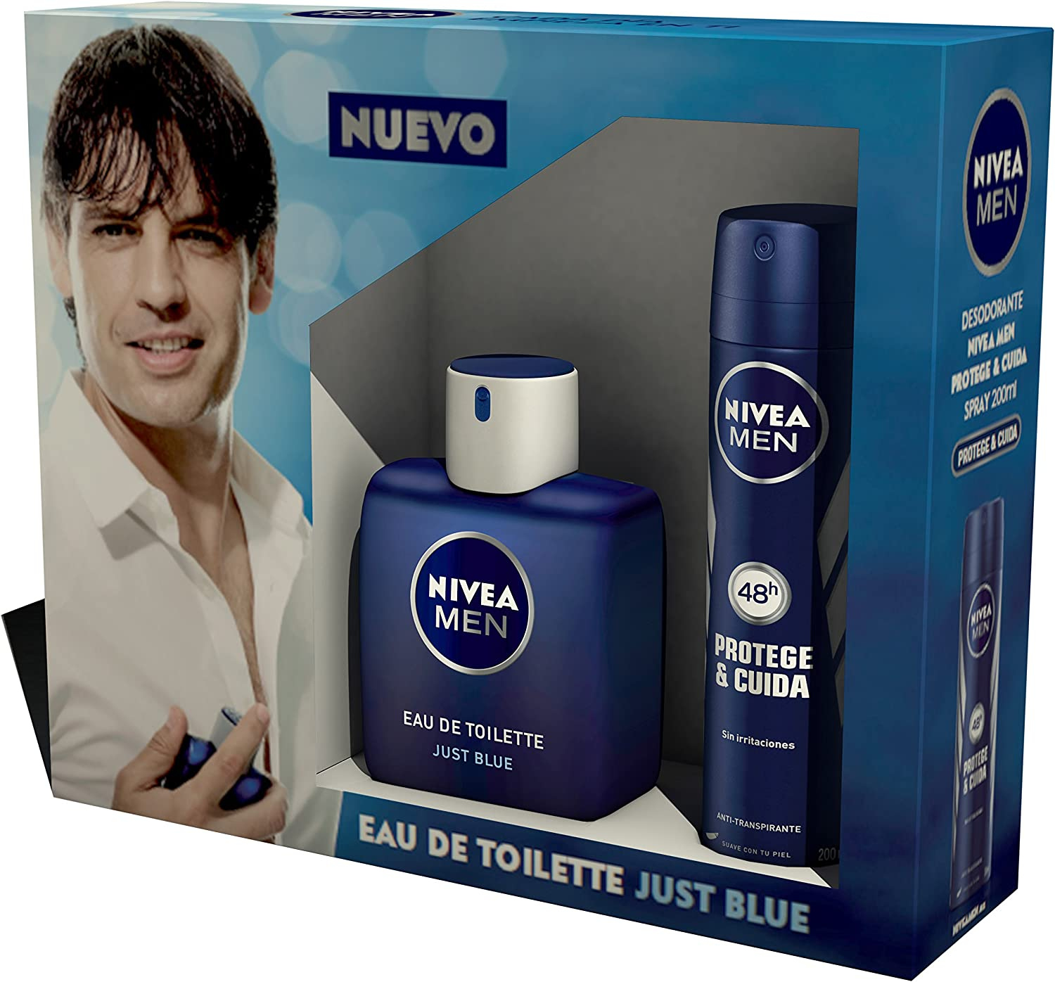 NIVEA MEN Estuche de regalo 2 productos en un pack para hombre con colonia masculina y desodorante en spray, caja de regalo con una fragancia exclusiva: Amazon.es: Belleza