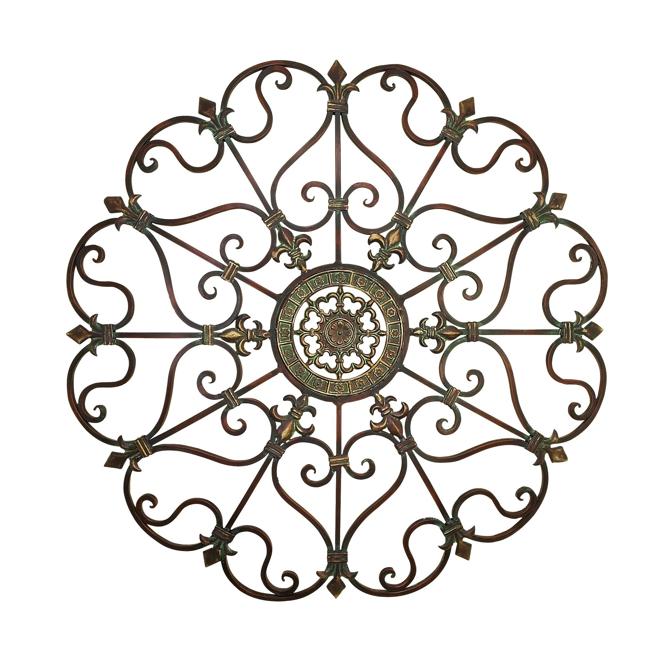 Deco 79 50094 Large, Round Bronze Metal Snowflake w/Fleur De Lis Designs, Vintage, Holiday Decorations, Christmas Wall Art, x 29 Diameter, Distressed by Deco 79