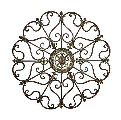 a0a392ea8a Amazon.com: Deco 79 50094 Large, Round Bronze Metal Snowflake w/Fleur De  Lis Designs, Vintage, Holiday Decorations, Christmas Wall Art, x 29  Diameter, ...