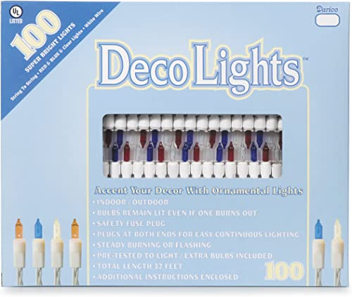 Darice LT-100-10 100-Red, Blue and Clear Bulb Light Set with 32-Feet White Cord