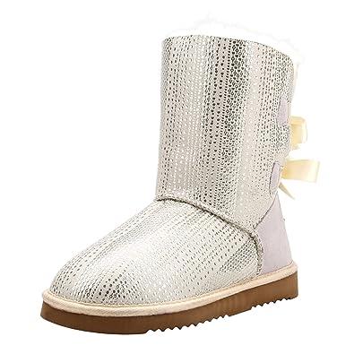 a80751597ee1 Shenduo Damen Kunstfell Halbfstiefel Warm Winterschuhe Schleifen Boots  D5078  Amazon.de  Schuhe   Handtaschen