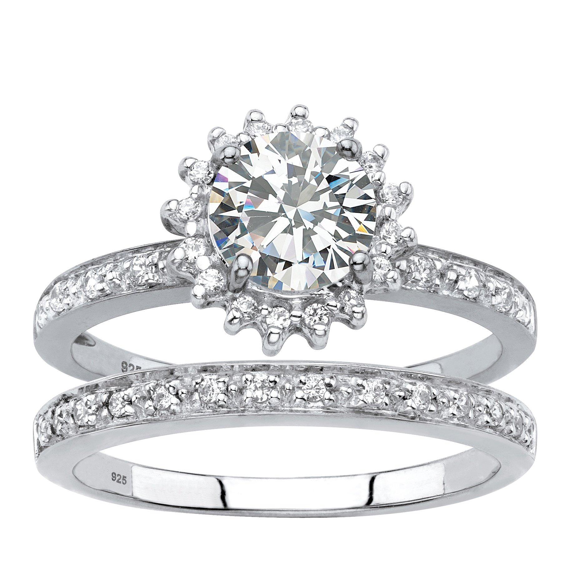 Genuine Diamond and Lab Created White Sapphire 2-Piece Halo Wedding Ring Set 1.98 TCW in Platinum ov Size 10