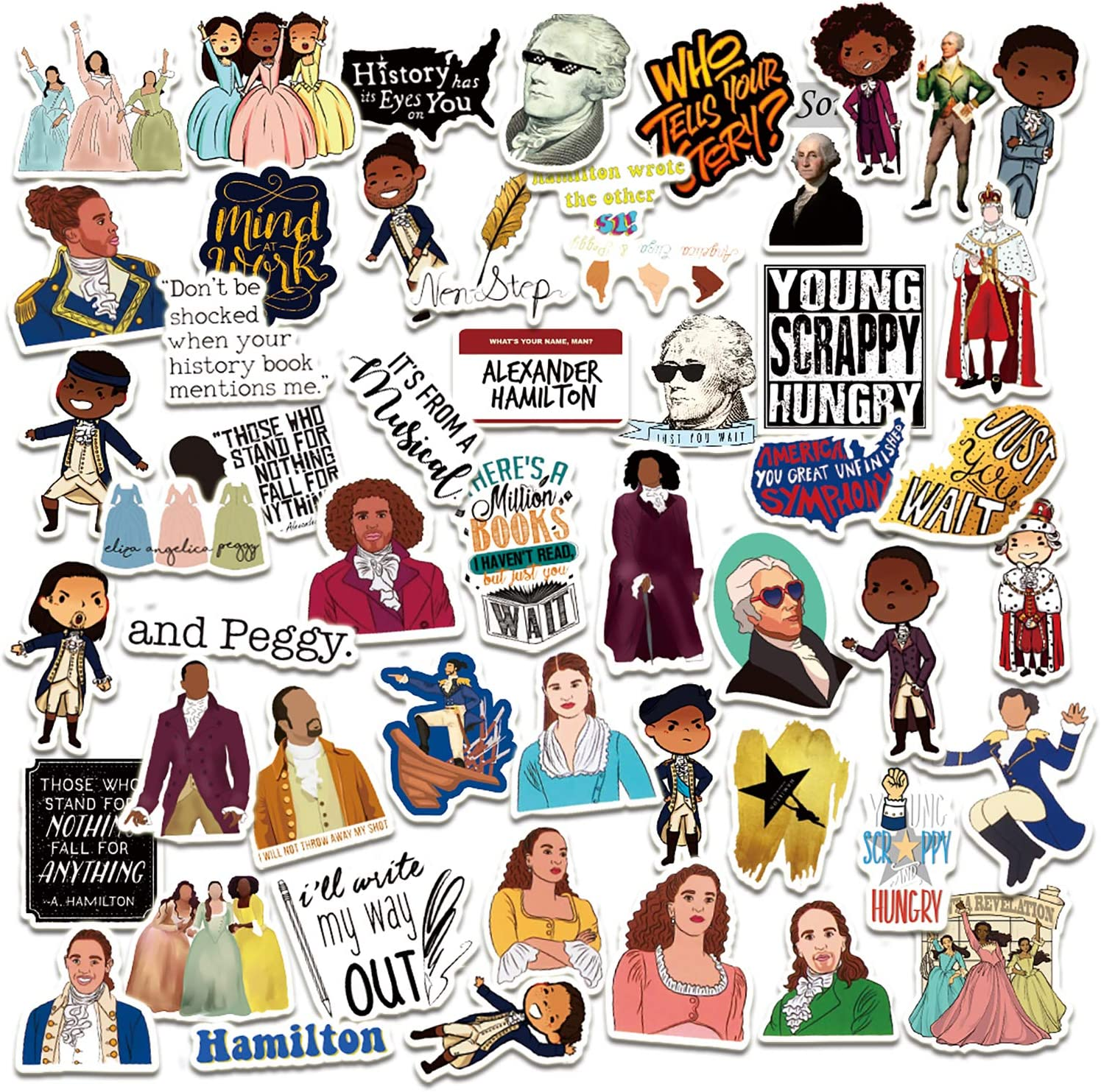 Hamilton Stickers [52Pack], Hamilton Musical Waterproof Vinyl Stickers Decals for Water Bottle, Laptop, Bumper, Luggage, Computer, Skateboard, Snowboard,Gift for Kids Girls Teens
