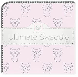 SwaddleDesigns Ultimate Swaddle Blanket, Made in USA, Premium Cotton Flannel, Gray Fox on Pastel Pink SD-612PP