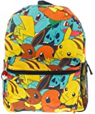 "Pokemon 16"" Canvas Backpack with Print of Pikachu, Charmander, Bulbasaur, Eevee, Squirtle"