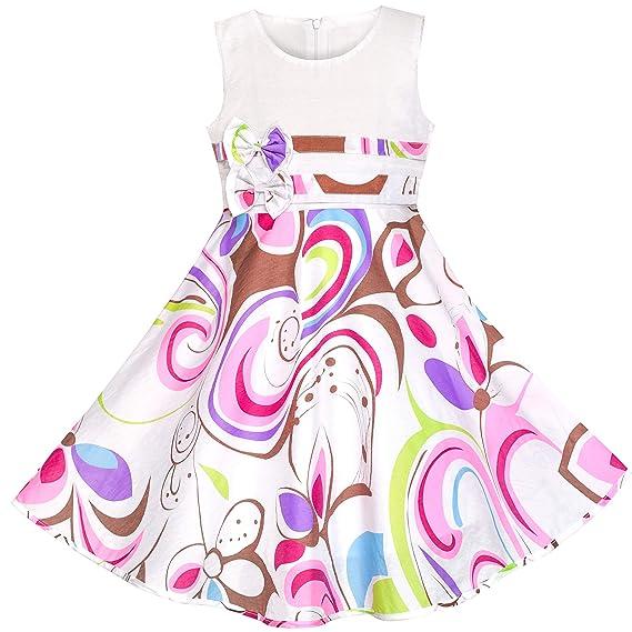 e7d46cae9 Sunny Fashion Vestido para niña Morado Cachemir Flor Impresión Doble Corbata  de moño niños Ropa 4-12 años: Amazon.es: Ropa y accesorios