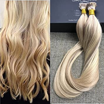 Full Shine 18quot 1g Per Strand 50g Package Blonde Hair Extensions Remy Pinao Color