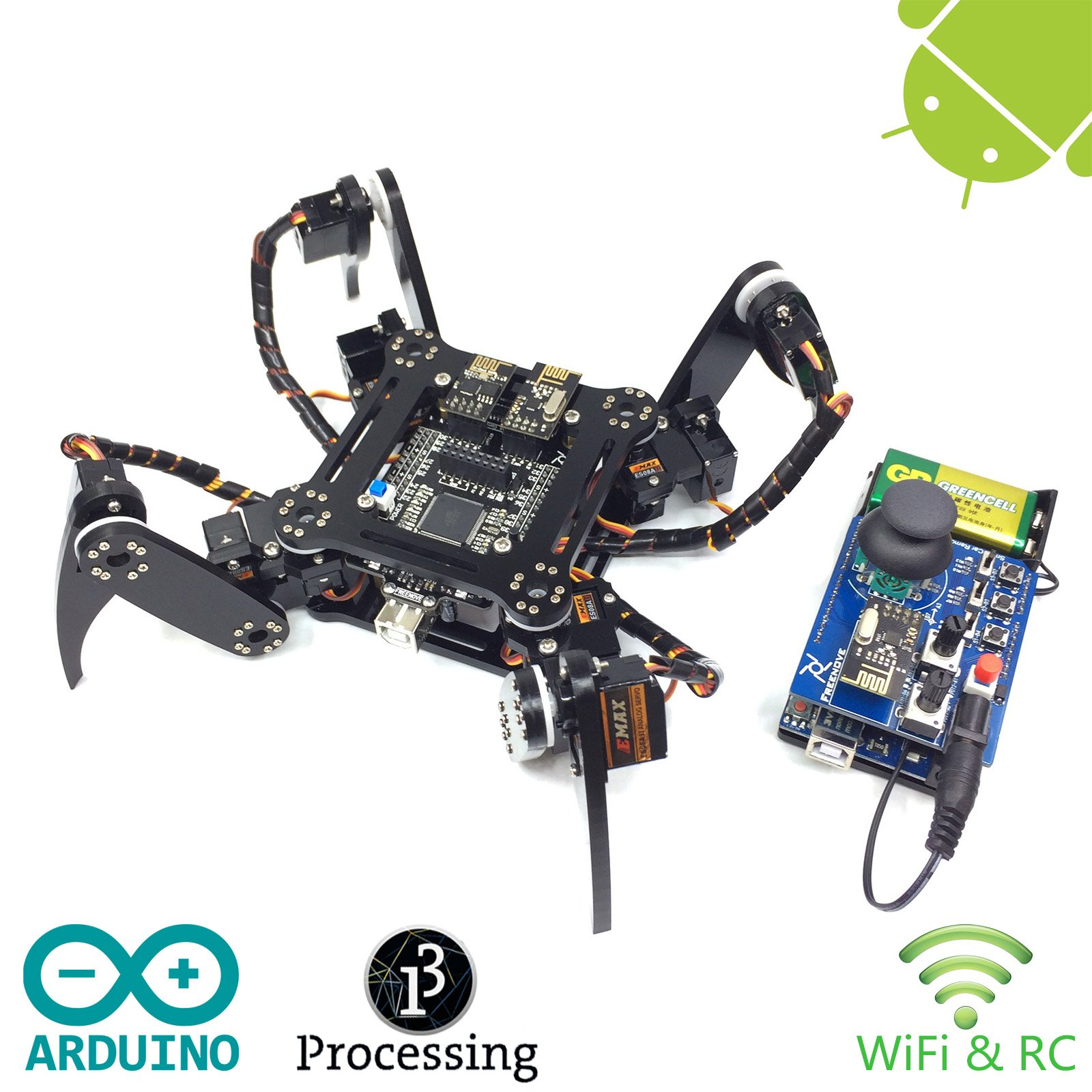 Freenove Quadruped Robot Kit with Remote Control | Arduino Robot Project | Spider Walking Crawling 4 Legged | Detailed Tutorial | Android APP | RC WiFi Wireless 2.4G Servo by Freenove