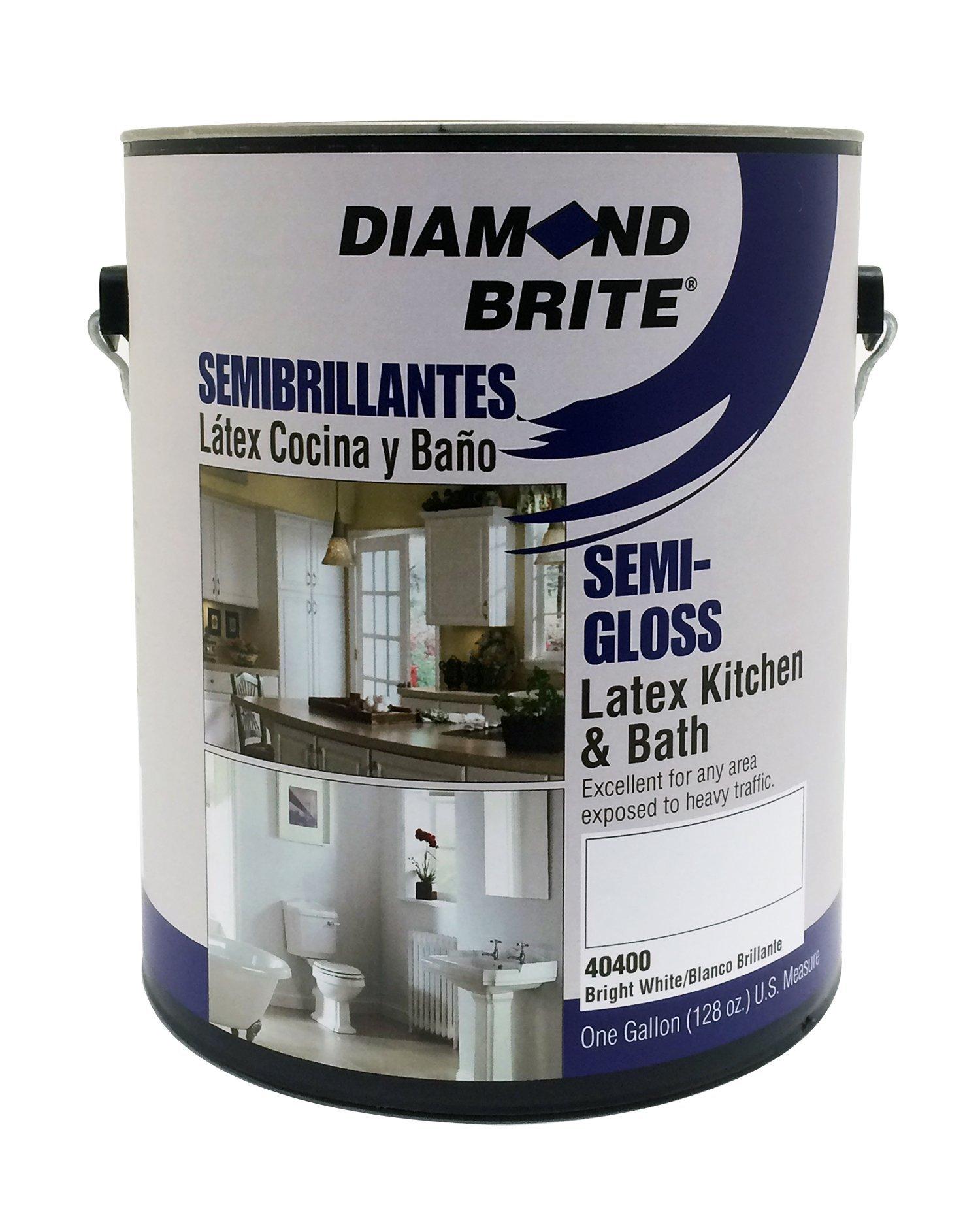 Diamond Brite Paint 40400 1-Gallon Kichen and Bath with Mildew Protection Semi Gloss Latex Paint White