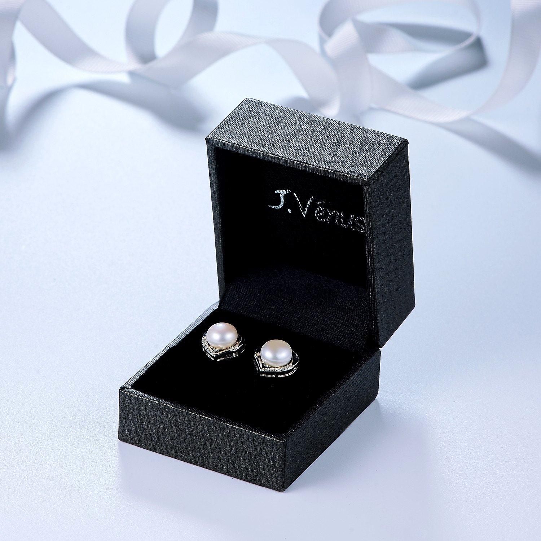 J.Vénus pendientes de las señoras Set plata de ley 925 básicos con perlas de agua dulce de 8 mm, con caja de joyería hermosa, regalo ideal el día de San Valentín, cumpleaños