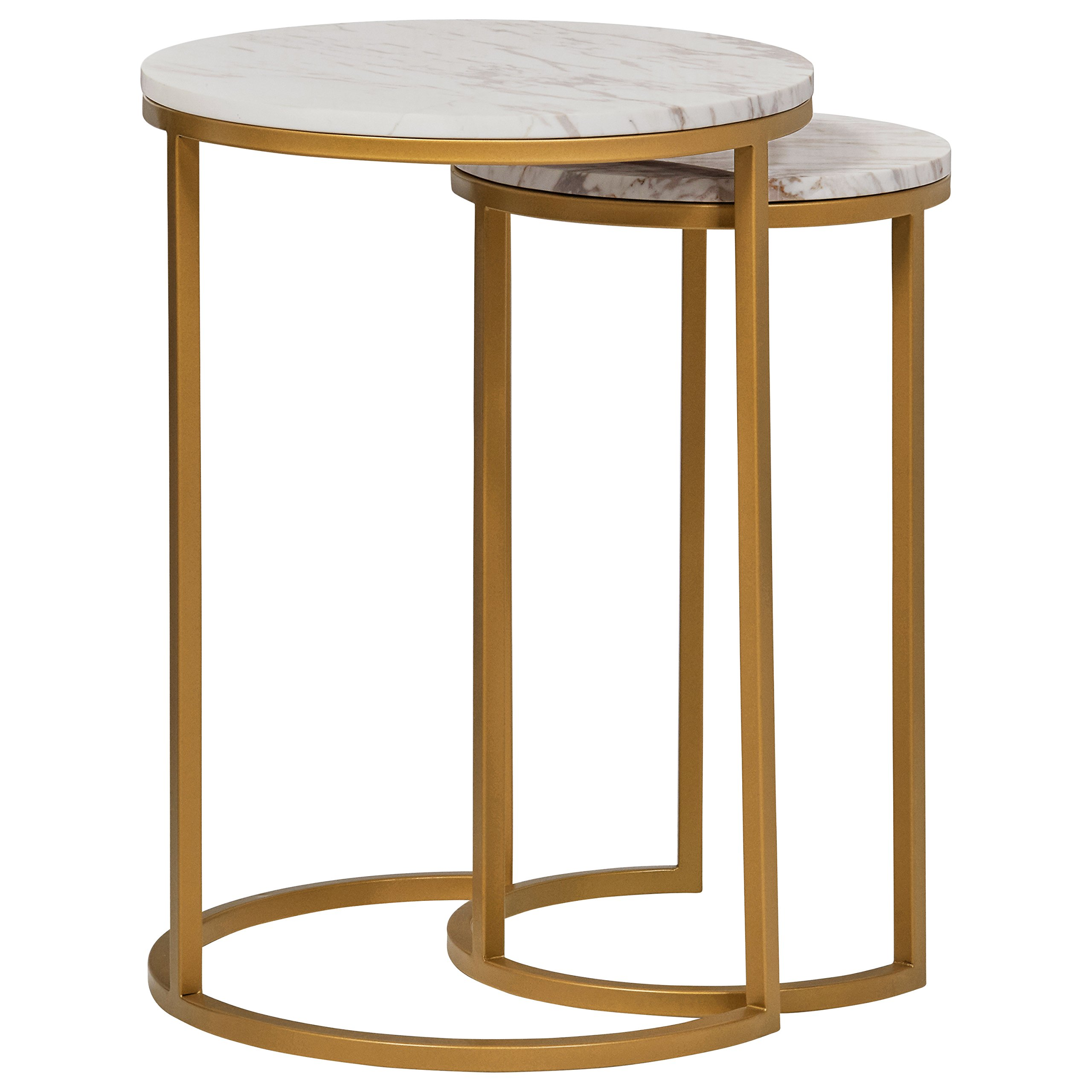 Rivet Circular Modern Marble and Gold Nesting Side Table, Set of 2, Marble/Gold