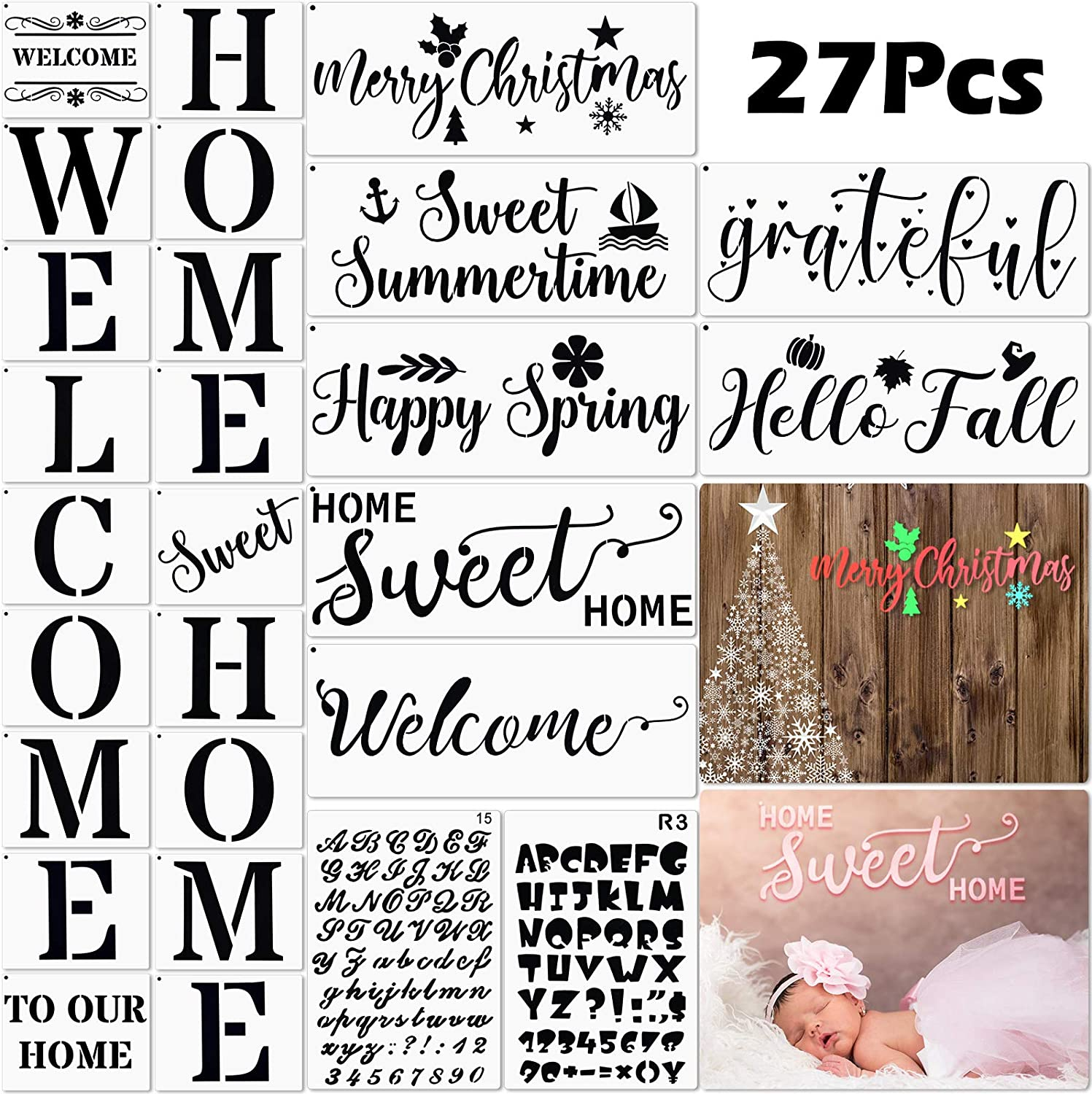 27 Pieces Christmas Stencil Painting Wood Welcome Home Stencil Kit Large Welcome Sign Stencil Sweet Home Reusable Template Seasonal Letter Stencils for Painting on Wood Wall Create Beautiful Wood Sign