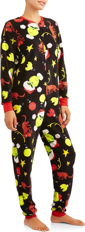 X-Small Black MJC Womens Dr Seuss Grinch Junior Cut Onesie Union Suit with Drop Seat
