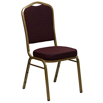 Good HERCULES Series Crown Back Stacking Banquet Chair With 2.5u0027u0027 Thick Seat  Burgundy Patterned/