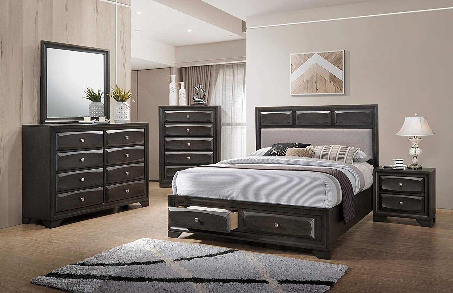 Amazon.com: Esofastore Classic Modern Master Bedroom Furniture ...