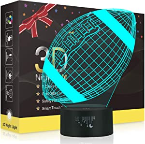 Football 3D Night Light for Boys, Rquite Rugby Optical Illusion Lamps for Kids Bedroom Decors, 7 Color Touch Switch Cool Gifts for Birthday Christmas Holidays Mother's & Father's Day