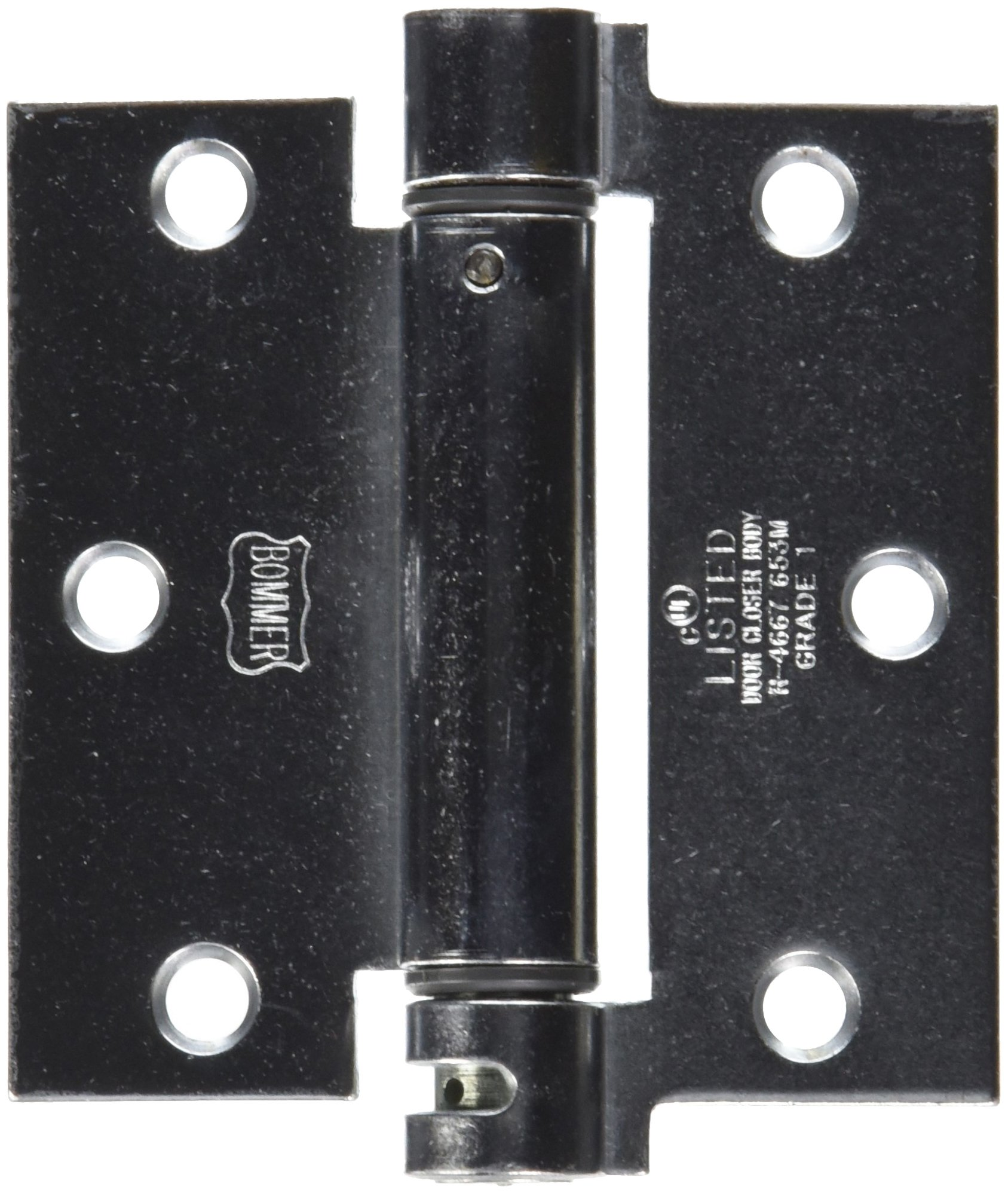 Bommer Lube Bearing LB4300 Series Steel Full Mortise Mounting Type Single Acting Spring Hinge, Square Corner, 3.5'' x 3.5'' Hinge Size, Satin Chrome Finish