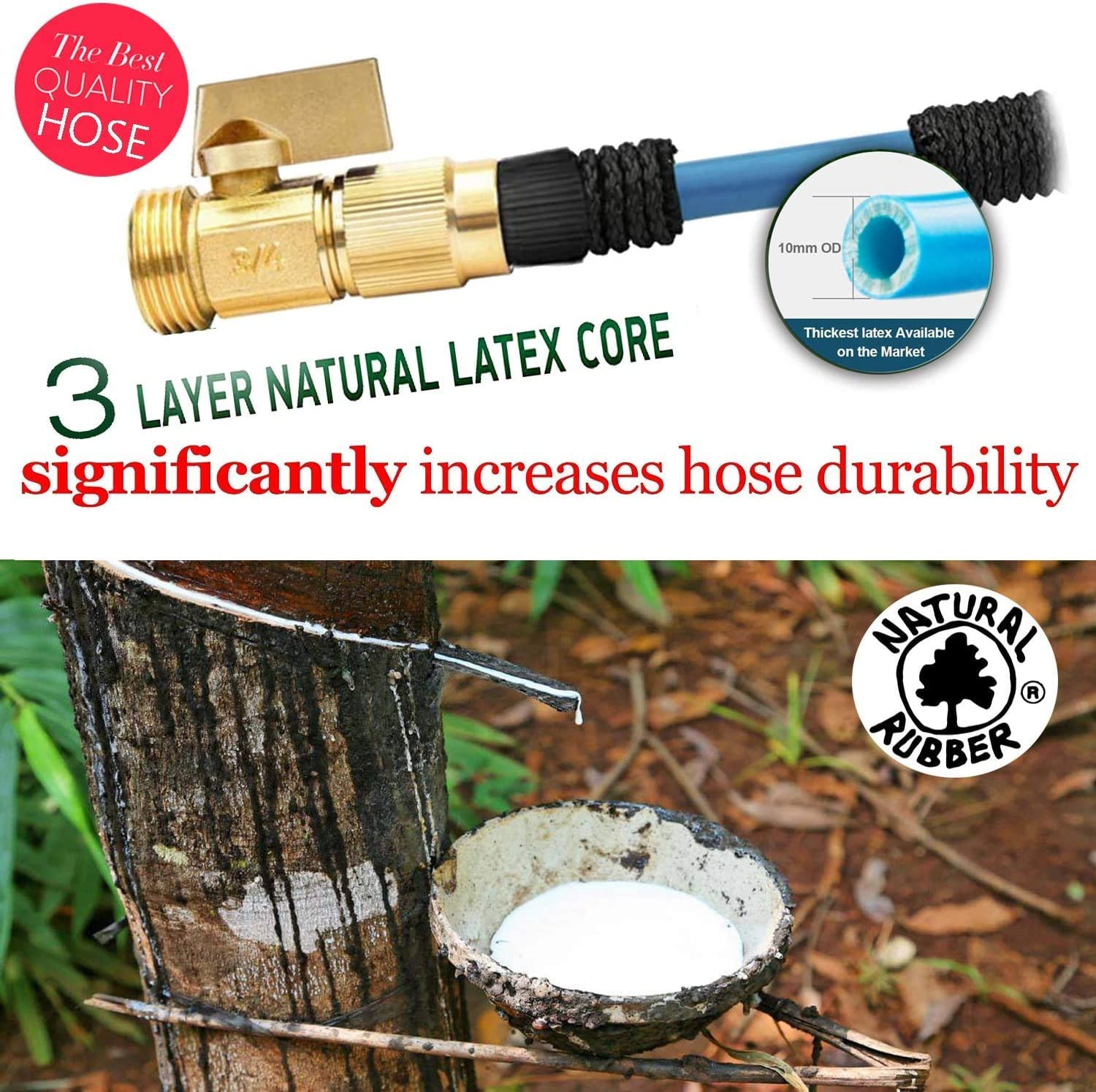 wyewye Garden Hose Expandable Garden Hose 25 ft Garden Hose with Triple Layer Latex Core 3750 D Extra Strength Fabric for All Your Watering Need 3//4 Solid Brass Fittings