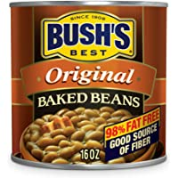 BUSH'S BEST Canned Original Baked Beans (Pack of 12), Source of Plant Based Protein and Fiber, Low Fat, Gluten Free, 16 oz