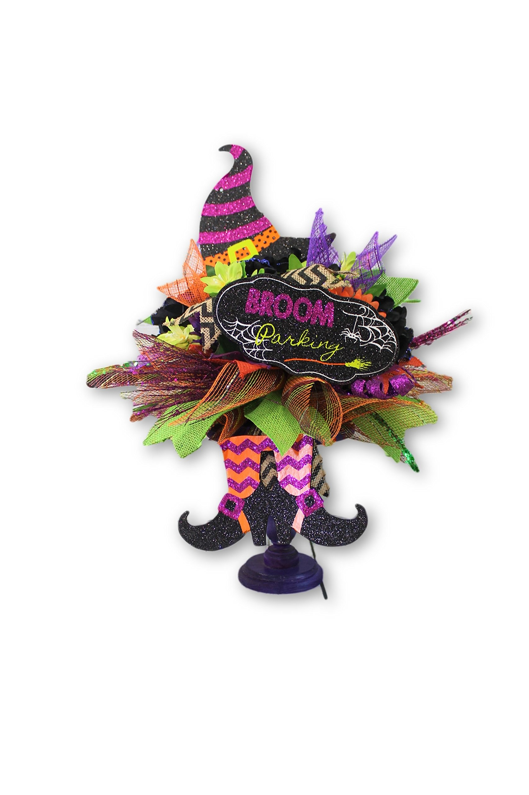 The Witch is Dead Halloween Pedestal Silk Flower Floral Arrangement