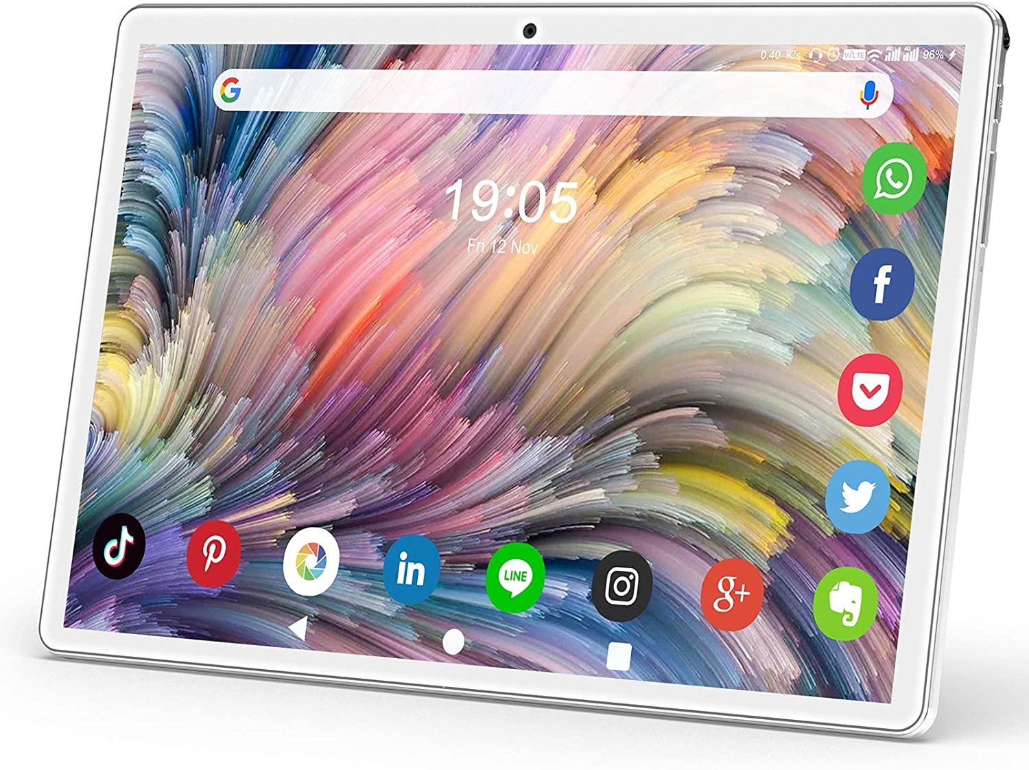 Tablet 10.1 Inch, Android 9.0 Pie Tablet PC with 32GB ROM/128GB Expand, Dual Sim Card 2MP+ 5MP Camera, WiFi, Bluetooth, GPS, Quad Core, IPS HD Display, Google Certified Tablet【2020 Newest Silver】