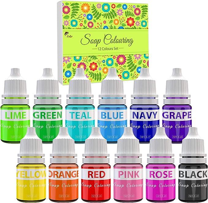 Colorante Jabón - 12 Colores Colorante de Bomba de Baño Líquido para Fabricación de Jabón - Tinte de Jabón para Kit de Suministros de Elaboración ...