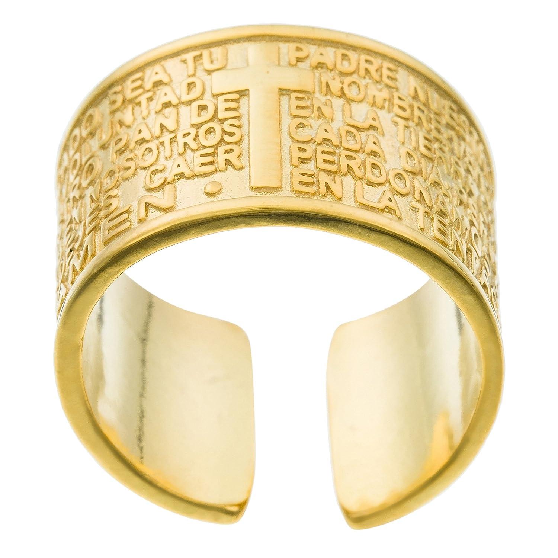 Córdoba Jewels | Anillo en Plata de Ley 925 bañada en Oro. Diseño Padre Nuestro: Amazon.es: Joyería