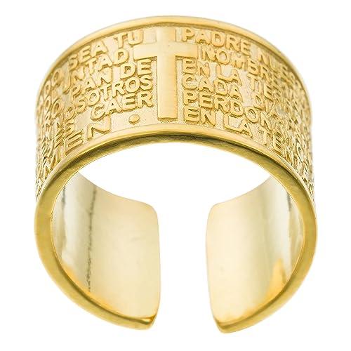 Córdoba Jewels   Anillo en Plata de Ley 925 bañada en Oro. Diseño Padre Nuestro