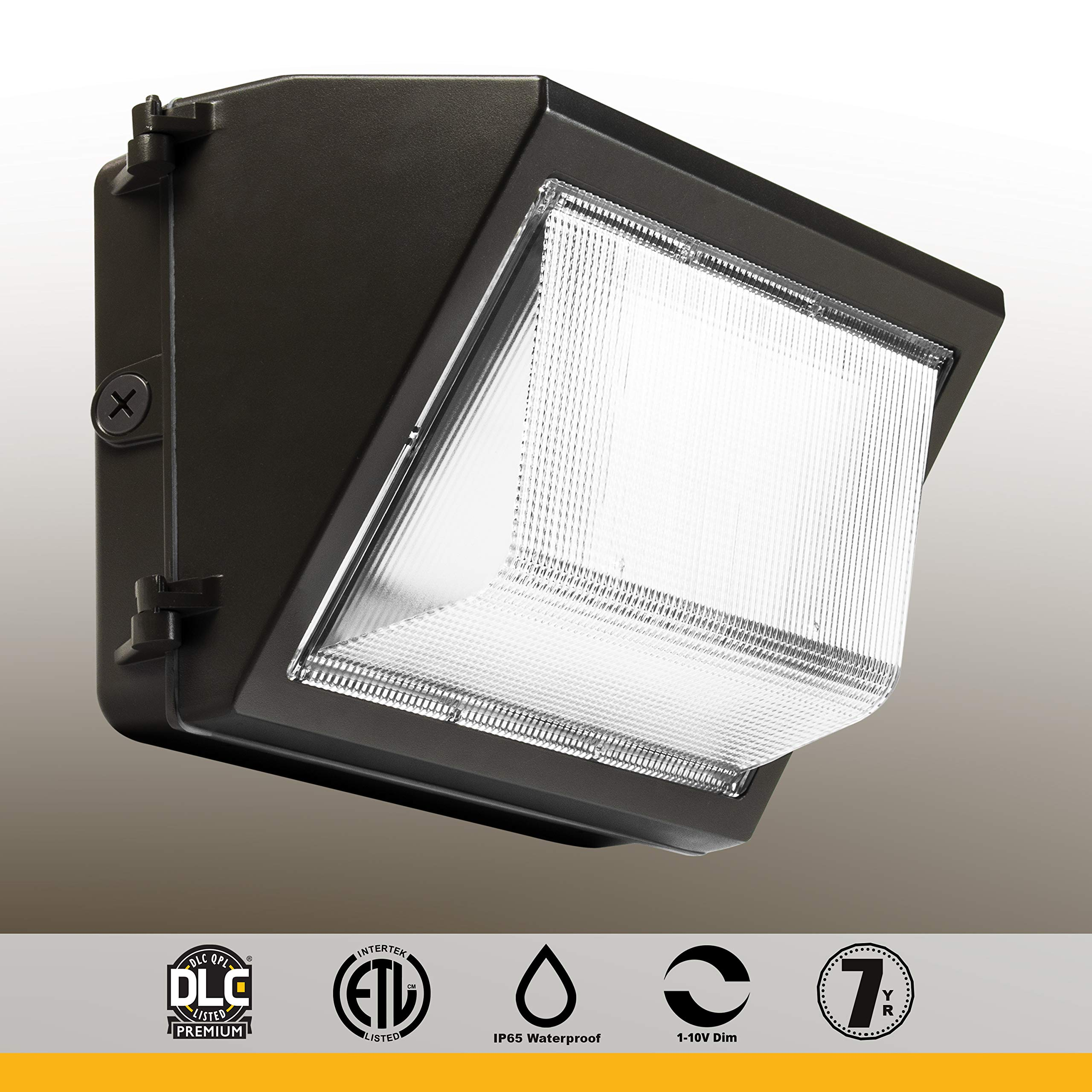 LED Wall Pack, Glass Refractor, 1-10V dimming, 5000K, 100-277VAC DLC Premium Product, 28W, 5000K, 3640 lm, Without Photocell