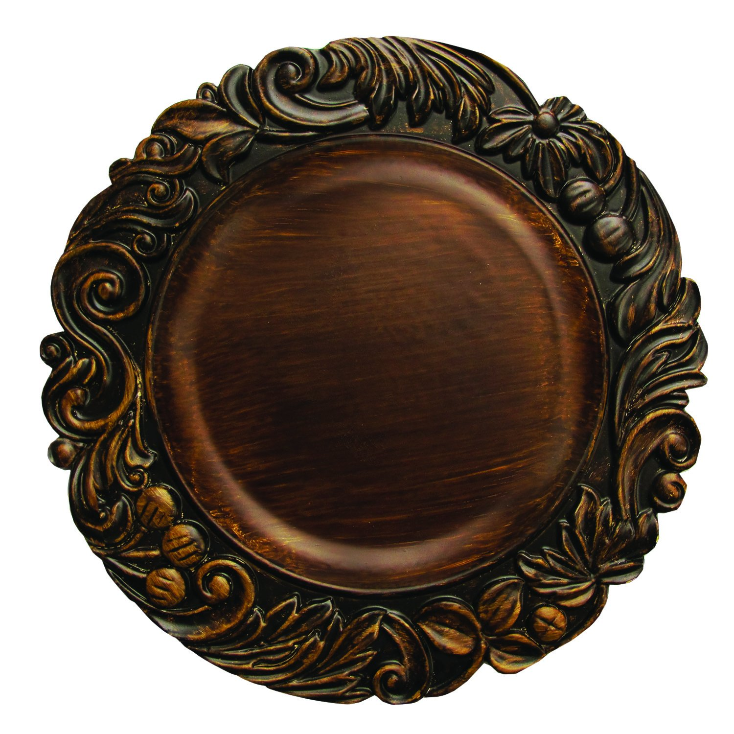 ChargeIt by Jay Aristocrat Round Charger Plate, Brown