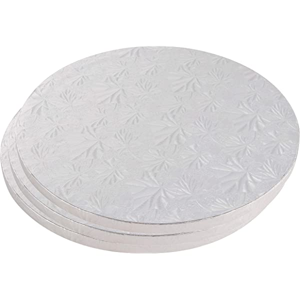 Cake Boards Rounds Corrugated Paper Board 8 Inches in Diameter 3 Piece Silver Foil Pizza Base Disposable Cake Drums