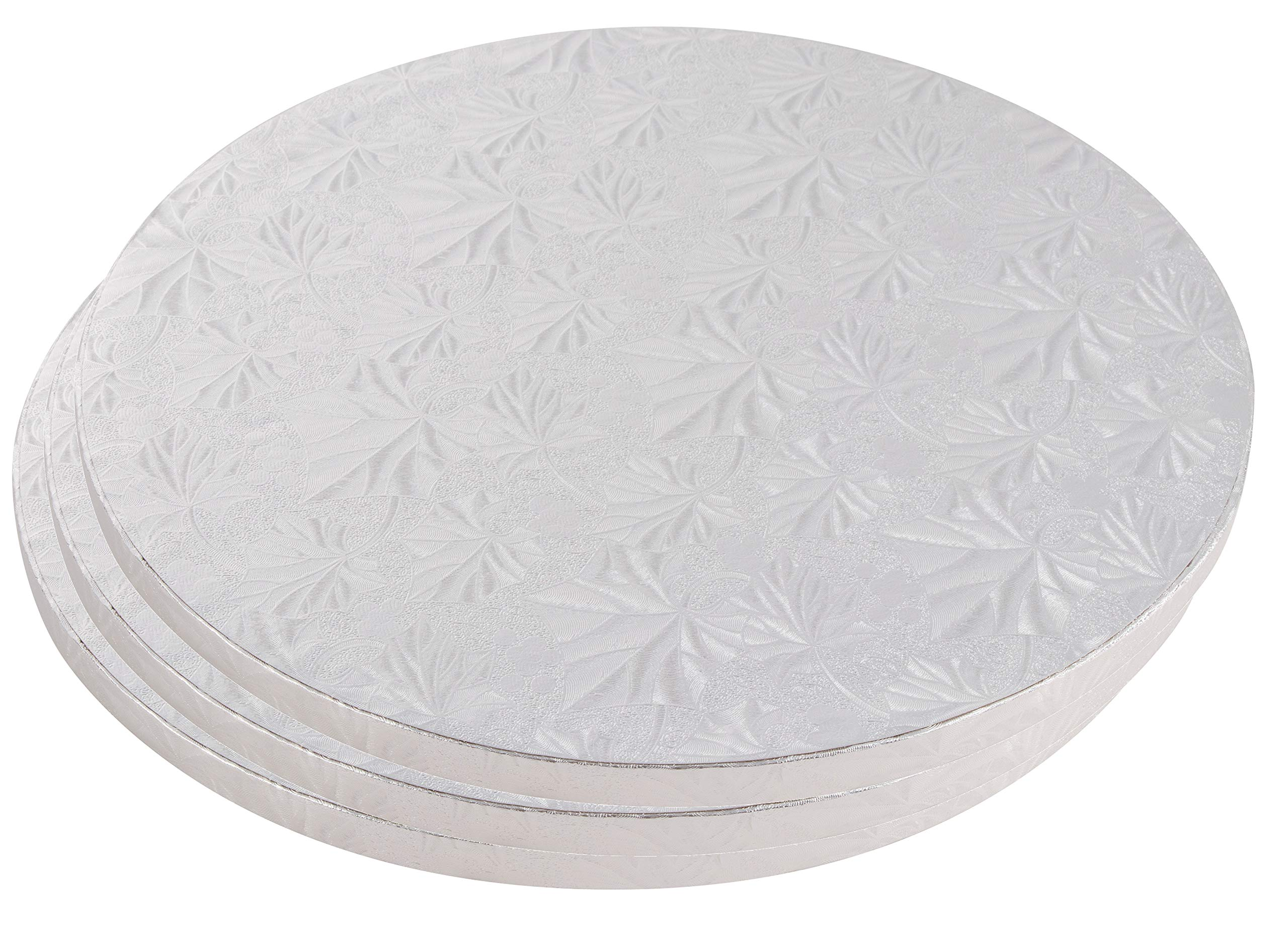 Cake Boards Rounds - 3 Piece Silver Foil Pizza Base Disposable Cake Drums, Corrugated Paper Board, 14 Inches in Diameter
