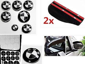 CARBON FIBER WHITE Roundel Emblem Overlay Decal Sticker FITS BMW HOOD TRUNK