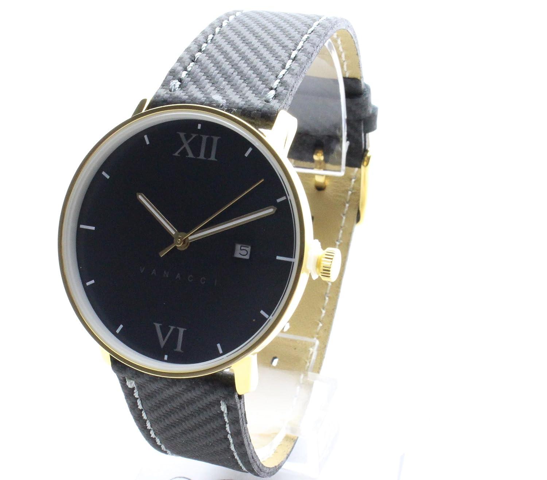 Vanacci - Herren Uhr -CARBON Style -469 -Schwarz -Edehlstal -Gelb Farbe